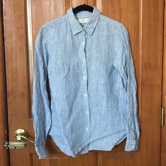 334b39c6070 Uniqlo women s linen patterned long sleeve shirt